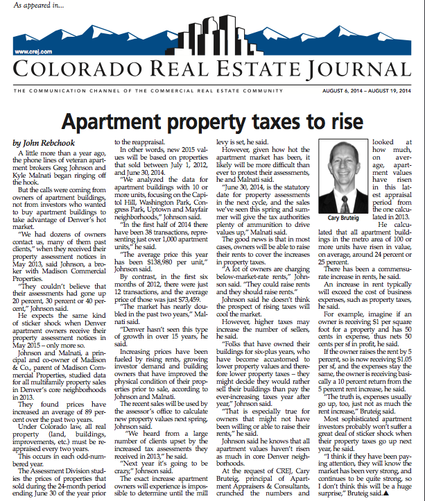 Rebchook: Apartment Property Taxes to Rise