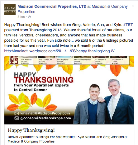 Happy Thanksgiving! Kyle Malnati and Greg Johnson